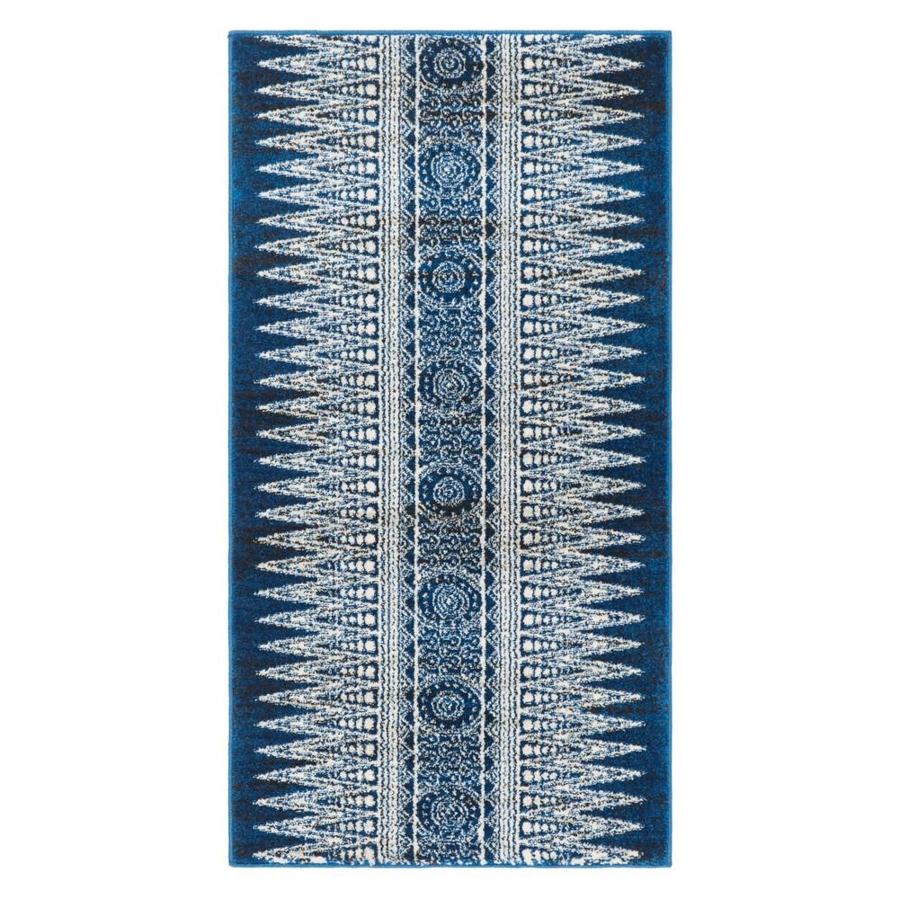 22X4 Geometric Design Loomed Accent Rug Dark Blue/Ivory - Safavieh Buy