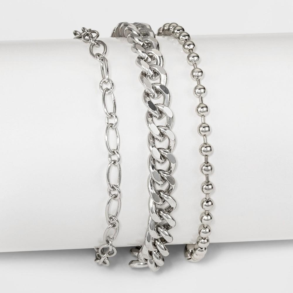 Three Piece Mixed Heavy Chain Anklet - Rhodium, Dark Silver