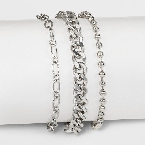 Three Piece Mixed Heavy Chain Anklet - Rhodium - image 1 of 1