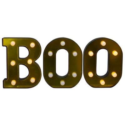 """Northlight 6.5"""" Lighted Black and Gold BOO Halloween Marquee Sign"""