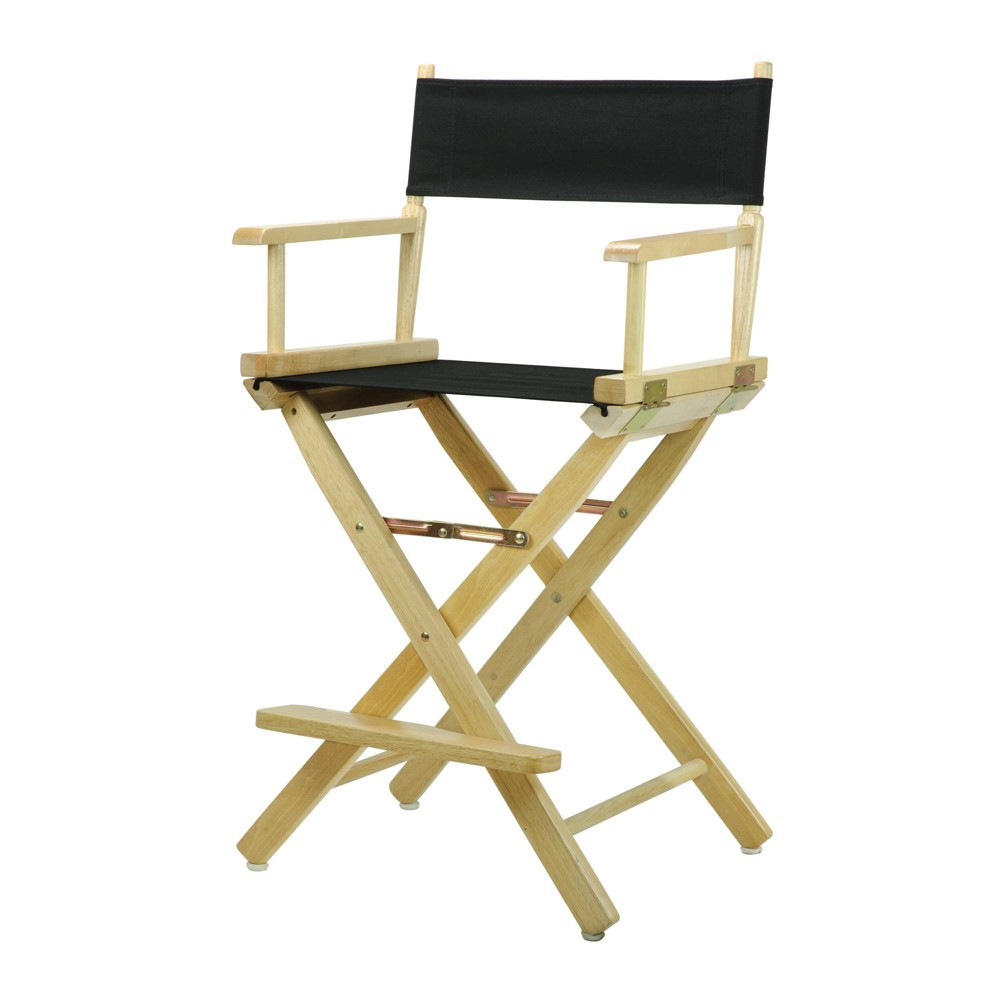 Director S Chair Counter Height Canvas Black Natural Flora Homes