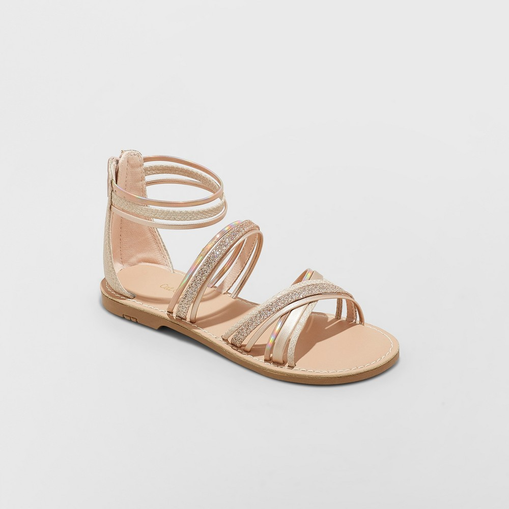 Girls' Gelsey Gladiator Sandals - Cat & Jack Rose Gold 13, Pink