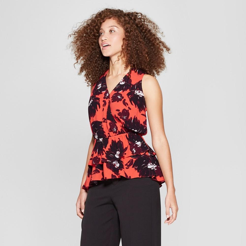 Women's Sleeveless Printed Ruffle Wrap Top - A New Day Red/Navy XL, Orange
