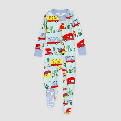 Honest Baby Boys' Campers Organic Cotton Footed Pajama Set