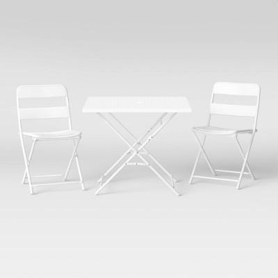"""32"""" Metal Punched Patio Folding Table Set - White - Room Essentials™"""