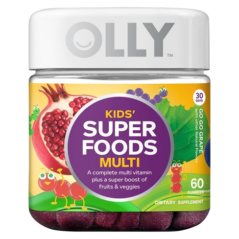 Olly Kids' Super Foods Multivitamin Dietary Supplement Gummies - Go Go Grape - 60ct - image 1 of 4