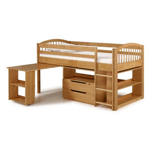 Twin Addison Junior Loft Bed With Storage Drawers Bookshelf And Desk Alaterre Furniture Target