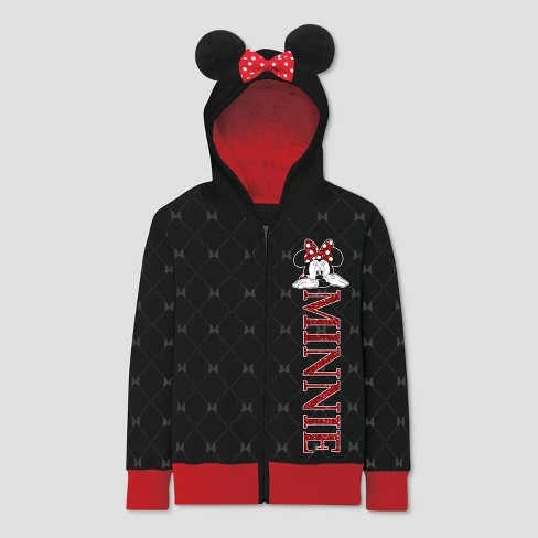 Girls' Disney Minnie Mouse Costume Zip-Up Hoodie - Black - image 1 of 2