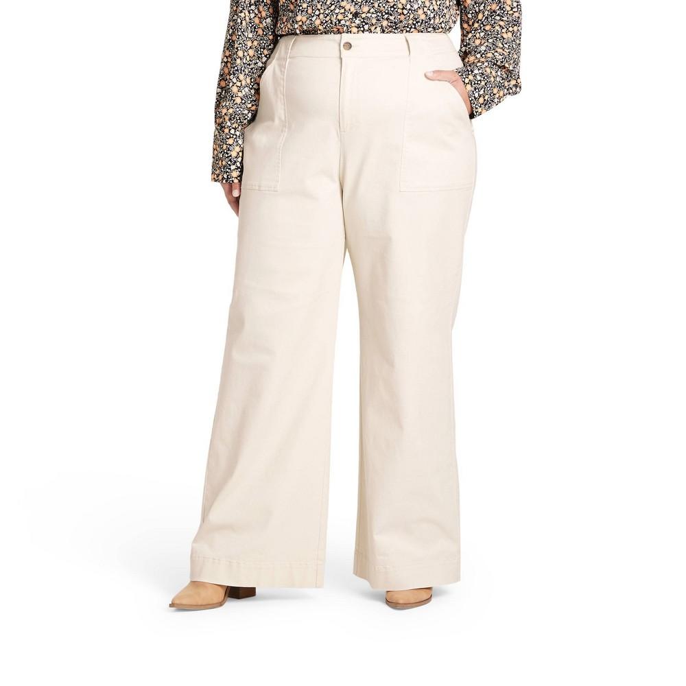 60s Pants, Jeans, Hippie, Flares, Jumpsuits Womens Plus Size High-Rise Wide Leg Cargo Pants - Nili Lotan x Target Cream 28W30W $45.00 AT vintagedancer.com
