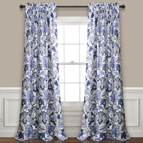 Cynthia Jacobean Room Darkening Window Curtain Panels Blue - Lush Decor - image 1 of 4
