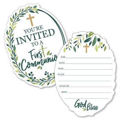 Big Dot of Happiness First Communion Elegant Cross - Shaped Fill-in Invitations - Religious Party Invitation Cards with Envelopes - Set of 12