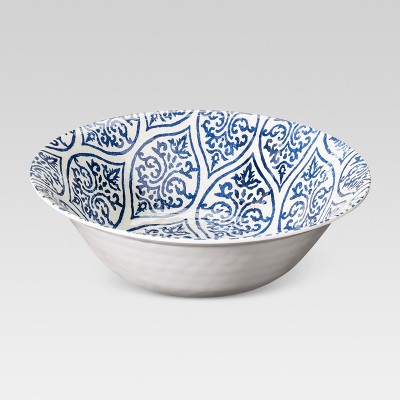 Plastic Geometric Serving Bowl 96oz Blue/White - Threshold™