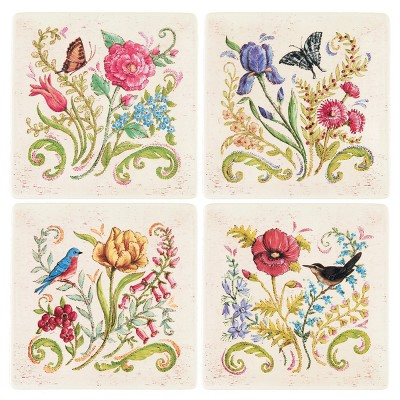 Gallerie II Colonial Williamsburg Embroidered Garden Floral Plate Set of 4