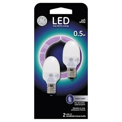 General Electric LED 2w 2pk Nightlight Light Bulb White