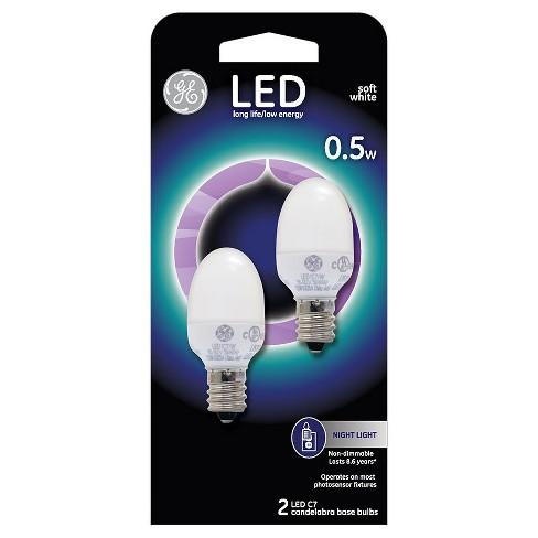 General Electric LED 2w 2pk Nightlight Light Bulb White - image 1 of 2