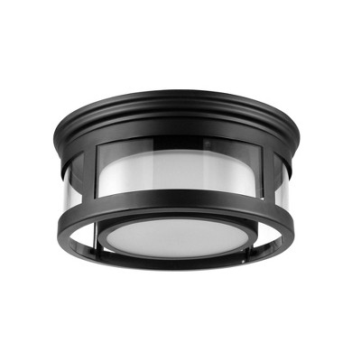 1 Light Brisbane Outdoor Indoor Flush Mount Ceiling with Frosted Glass Shade Matte Black - Globe Electric