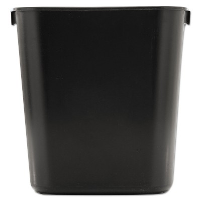 Rubbermaid Commercial Deskside Plastic Wastebasket Rectangular 3 1/2 gal Black 295500BK