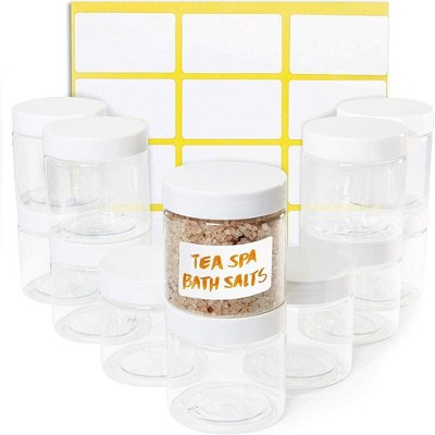 Juvale 12 Pack Round Plastic Glass Jars with Lids, 6oz Clear Food Storage Containers with Label Stickers for Spice, Powder and Cooking Oil