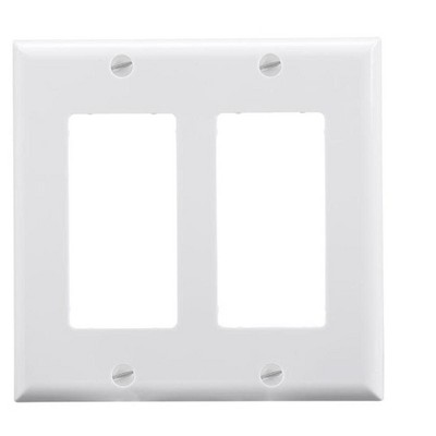 Monoprice 2-Gang Dcor Wall Plate - White  for Home ,Office, Personal Install