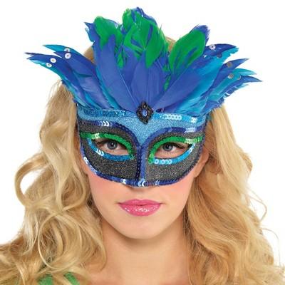 Blue Mystique Feather Halloween Costume Mask