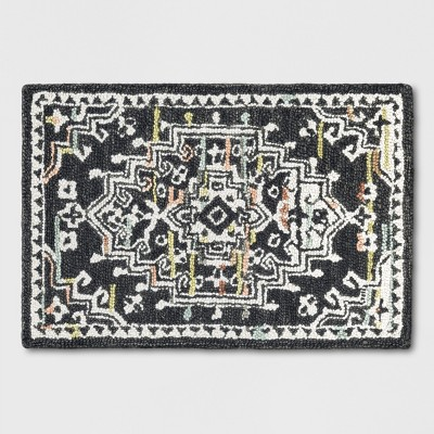 2'X3' Tufted Accent Rug Floral Charcoal Heather - Threshold™