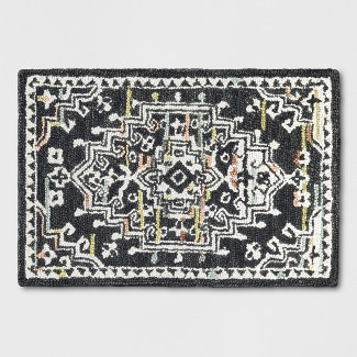 2X3 Tufted Accent Rug Floral Charcoal Heather - Threshold™