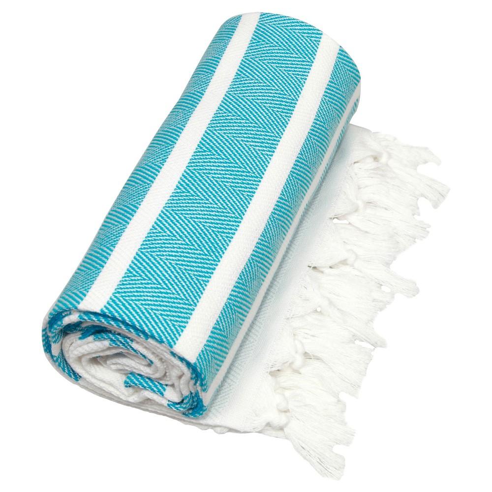 Herringbone Pesetemal Beach Towel Turquoise
