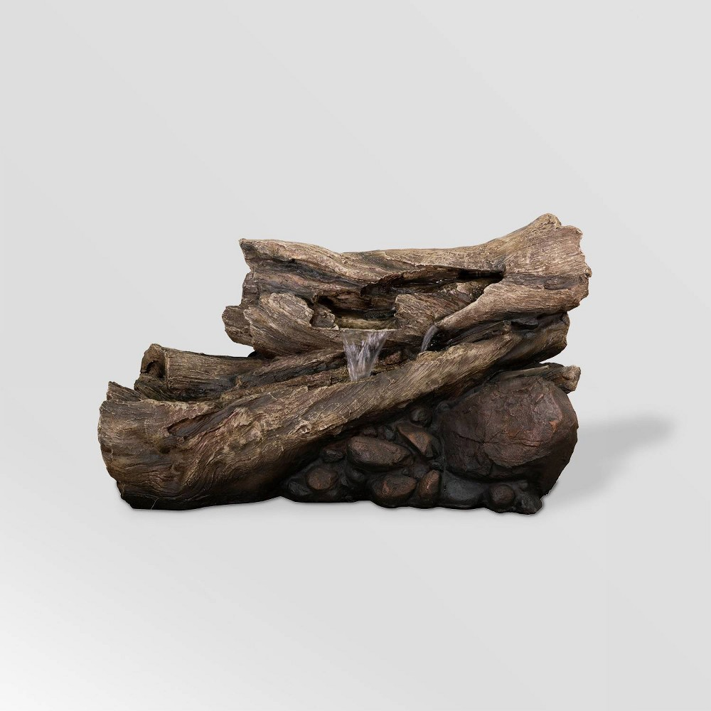 "Image of ""Alpine Corporation 24"""" Rainforest Waterfall Logs With LED lights - Brown"""