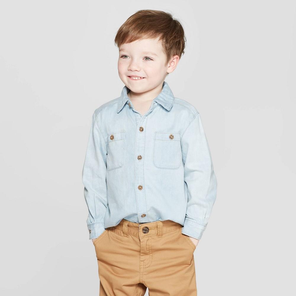 Genuine Kids from OshKosh Toddler Boys' Long Sleeve Denim Button-Down Shirt - Light Blue 12M