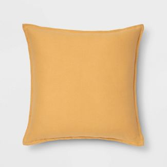 Oversized Square Reversible Linen Throw Pillow with Self Flange Yellow - Threshold™