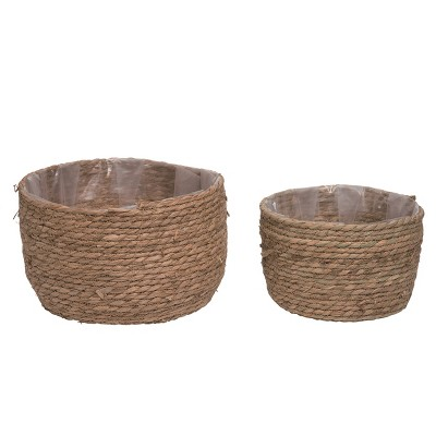 Transpac Natural 13 in. Brown Spring Grass Pot Set of 2