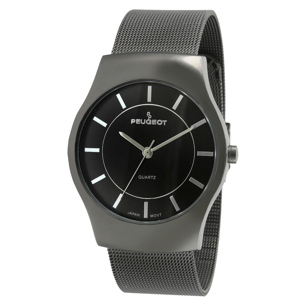 Image of Men's PeugeotMesh Bracelet Watch - Gun Metal, Men's, Size: Small, Gray
