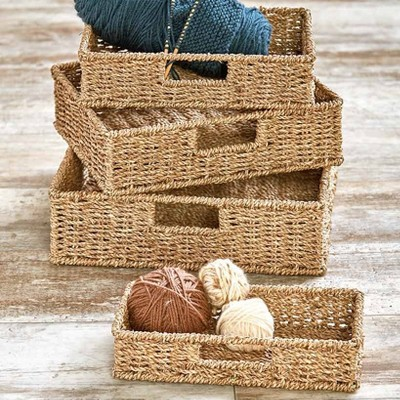 Lakeside Woven Seagrass Wicker Storage Baskets with Metal Frames - Set of 4