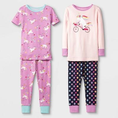 Baby Girls' 4pc Unicorn & Bike 100% Cotton Pajama Set - Cat & Jack™ Pink 12M