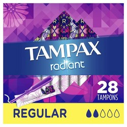 Tampax Radiant Tampons Regular Absorbency - Unscented - 28ct