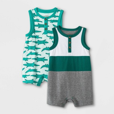 Baby Boys' 2pk Alligator Romper - Cat & Jack™ Green
