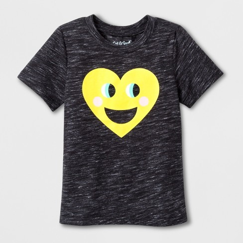 Toddler Short Sleeve Emoji T-Shirt - Cat & Jack™ Black - image 1 of 2