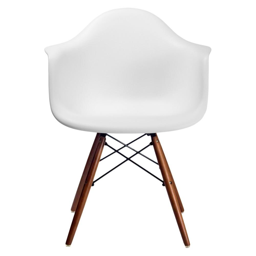 Dijon Mid Century Modern Dining Chairset of 2) - White/Walnut - Aeon
