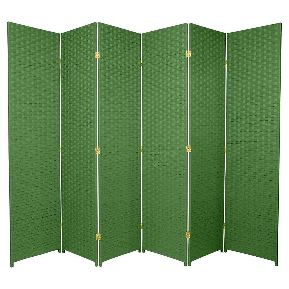 6 ft. Tall Woven Fiber Room Divider - Light Green (6 Panels)