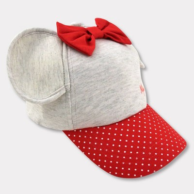Toddler Girls' Minnie Mouse Baseball Hat - Red/Gray