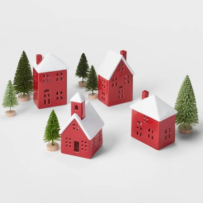 Red Ceramic Houses with Green Trees Kit - Wondershop™