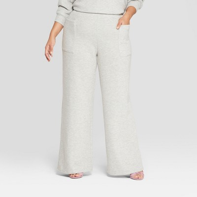 Women's Plus Size Cozy Wide Leg Pants - Who What Wear™ Gray X