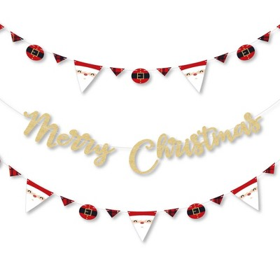 Big Dot of Happiness Jolly Santa Claus - Party Letter Banner Decor - 36 Banner Cutouts and No-Mess Real Gold Glitter Merry Christmas Banner Letters