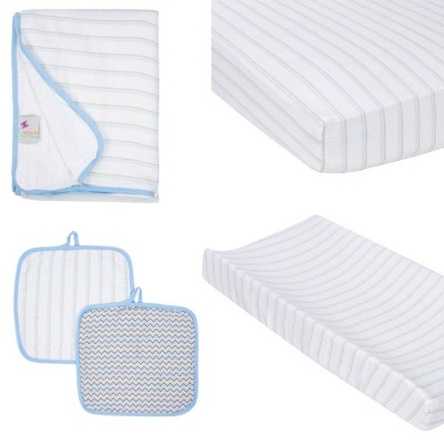 MiracleWare Fitted Sheets Nursery Set - Blue Stripe 4pc