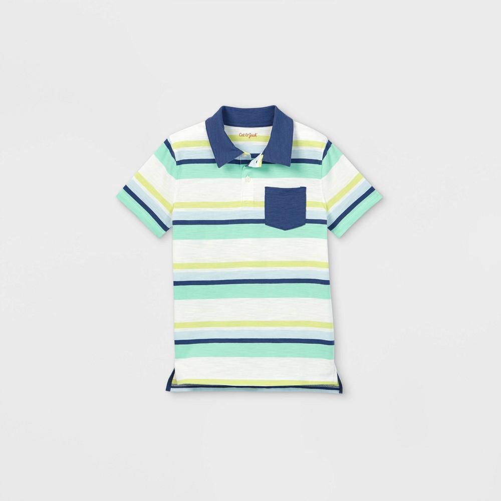Boys 39 Short Sleeve Striped Knit Polo Shirt Cat 38 Jack 8482 Cream Aqua Xl
