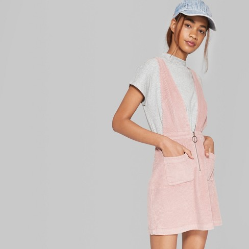4f3b2f048a7d4 Women s Sleeveless V-Neck Zip Front Corduroy Mini Dress - Wild Fable™ Pink