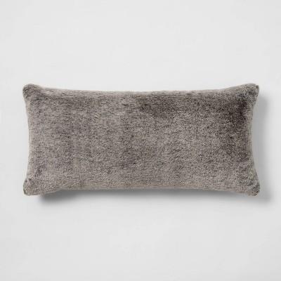 Faux Rabbit Fur Oversize Lumbar Throw Pillow Black - Threshold™
