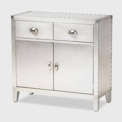 Romain Metal 2 Door Accent Storage Cabinet Silver - Baxton Studio