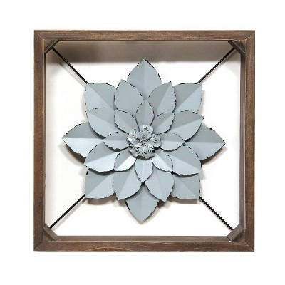 "15.75"" Framed Metal Flower Blue - Stratton Home Décor"
