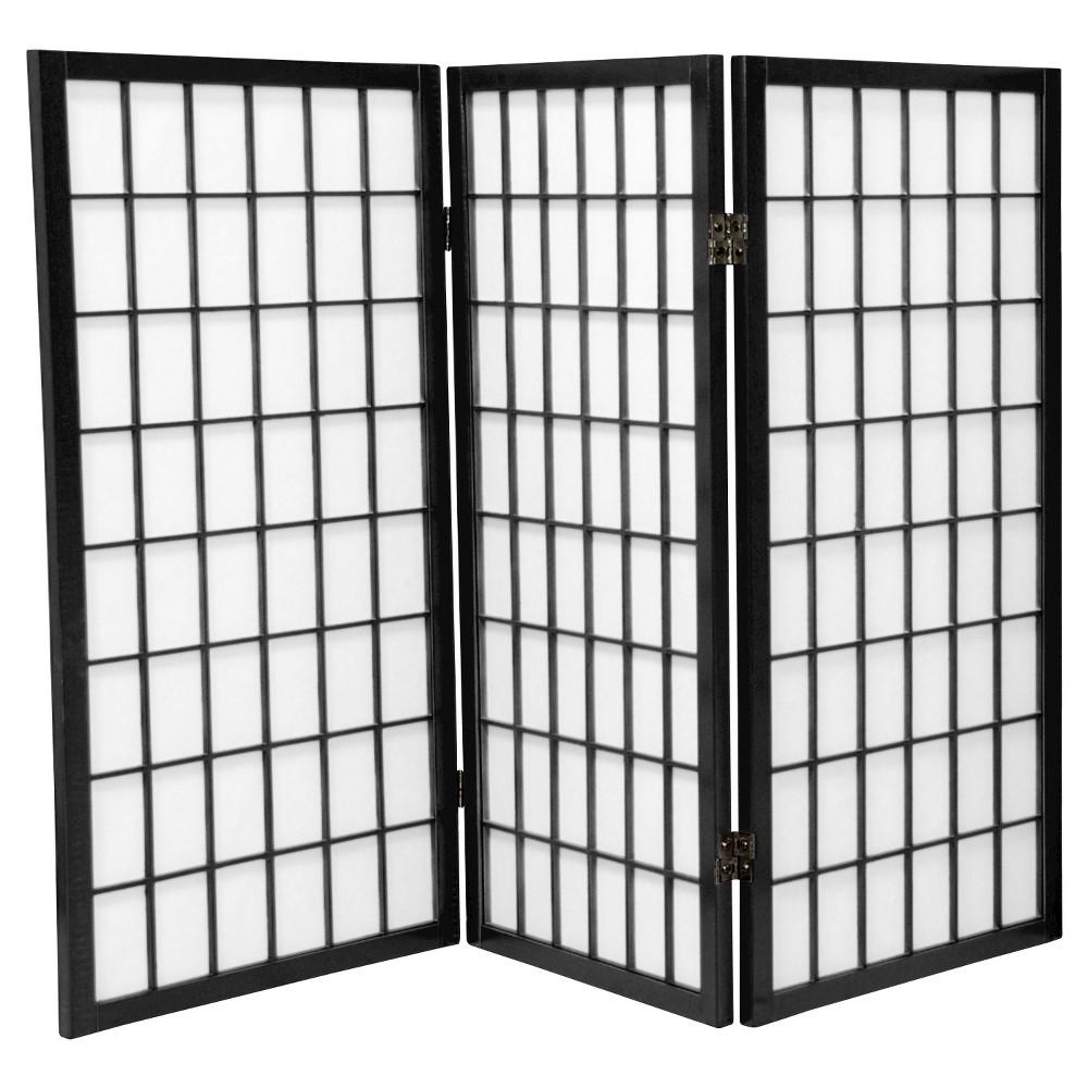 Image of 3 ft. Tall Window Pane Shoji Screen - Black (3 Panels) - Oriental Furniture